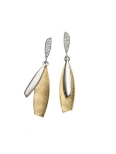 Damen 925 Silber Ohrringe / Ohrhänger mit Zirkonia 1001 Diamonds silber