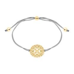 Damen Armband aus Textil und 925er Silber, vergoldet