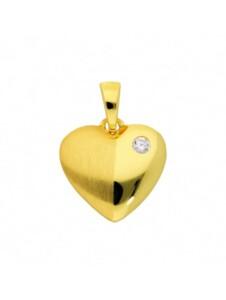 Damen Goldschmuck 585 Gold Anhänger Herz mit Zirkonia 1001 Diamonds gold