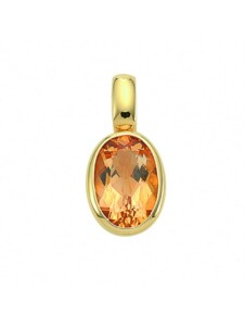 Damen Goldschmuck 585 Gold Anhänger mit Citrin 1001 Diamonds gelb