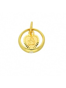 Damen Goldschmuck 585 Gold Anhänger Taufring mit Zirkonia Ø 10,4 mm 1001 Diamonds gold