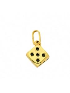 585 Gold Anhänger Würfel im Set mit vergoldeter 925 Silber Halskette 1001 Diamonds gold