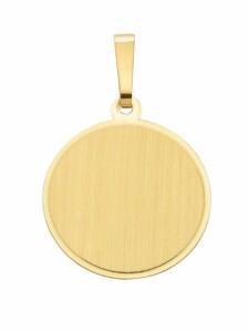 1001 Diamonds Damen Goldschmuck 585 Gold Gravurplatte Anhänger Ø 15,5 mm 1001 Diamonds gold