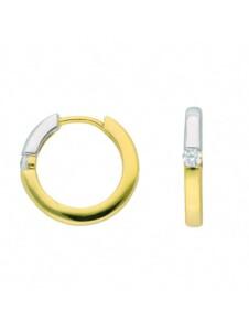 Damen Goldschmuck 585 Gold Ohrringe / Creolen mit Zirkonia 1001 Diamonds gold