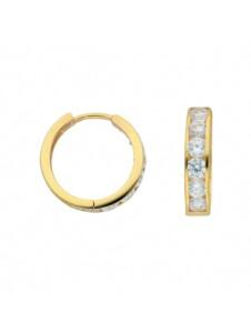 Damen Goldschmuck 585 Gold Ohrringe / Creolen mit Zirkonia Ø 15,7 mm 1001 Diamonds gold