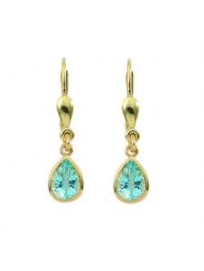 Damen Goldschmuck 585 Gold Ohrringe / Ohrhänger mit Aquamarin 1001 Diamonds blau