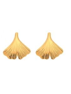 Damen Goldschmuck 585 Gold Ohrringe / Ohrstecker Ginkoblatt 1001 Diamonds gold