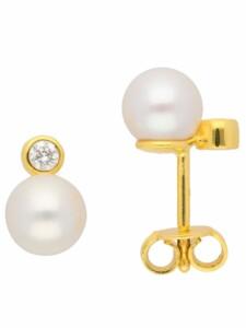 1001 Diamonds Damen Goldschmuck 585 Gold Ohrringe / Ohrstecker mit Süßwasser Zuchtperle 1001 Diamonds gold