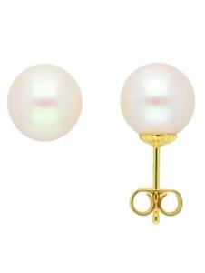 Damen Goldschmuck 585 Gold Ohrringe / Ohrstecker mit Süßwasser Zuchtperle 1001 Diamonds gold