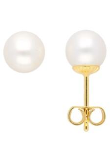 Damen Goldschmuck 585 Gold Ohrringe / Ohrstecker mit Süßwasser Zuchtperle Ø 7 mm 1001 Diamonds gold
