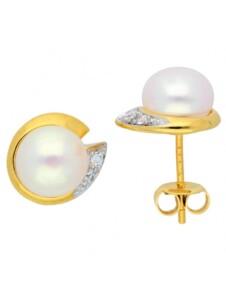 Damen Goldschmuck 585 Gold Ohrringe / Ohrstecker mit Zirkonia 1001 Diamonds gold