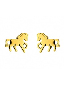 Damen Goldschmuck 585 Gold Ohrringe / Ohrstecker Pferd 1001 Diamonds gold