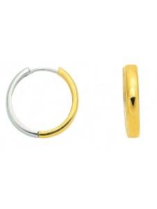 Damen Goldschmuck 585 Weißgold Ohrringe / Creolen Ø 18,5 mm 1001 Diamonds silber