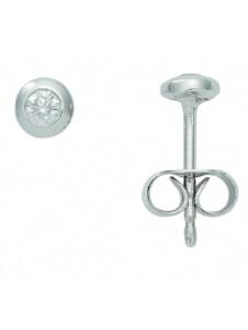 Damen Goldschmuck 585 Weißgold Ohrringe / Ohrstecker mit Brillant Ø 4 mm 1001 Diamonds silber