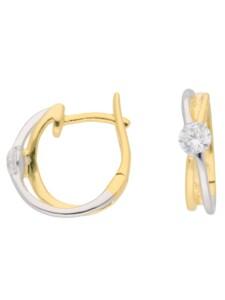 Damen Goldschmuck Ohrringe / Creolen mit Zirkonia 1001 Diamonds bunt