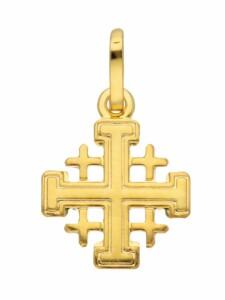 1001 Diamonds Damen & Herren Goldschmuck 585 Gold Kreuz Anhänger Jerusalem 1001 Diamonds gold