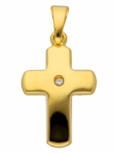 1001 Diamonds Damen & Herren Goldschmuck 585 Gold Kreuz Anhänger mit Diamant 1001 Diamonds gold