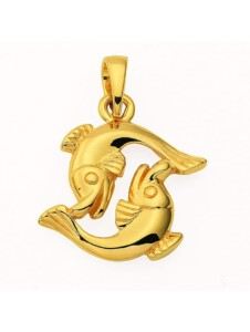 Damen & Herren Goldschmuck 585 Gold Sternzeichen Anhänger Fisch 1001 Diamonds gold