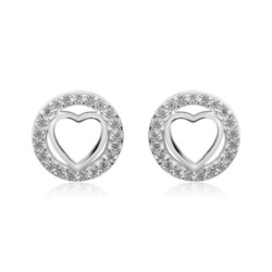 Damen Ohrstecker Herzen aus 925er Silber mit Zirkonia