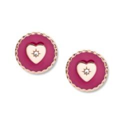 Damen Ohrstecker Herzen aus Edelstahl, rosé