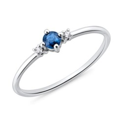 Damen Ring aus 14K Weißgold mit Saphir und Diamanten