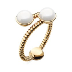 Damen Ring Rope Pearl aus vergoldetem Edelstahl