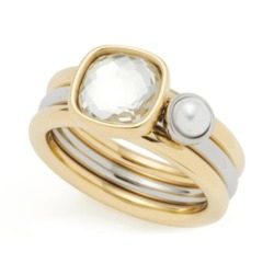 Damen Ring-Set aus Edelstahl mit Glaskristall, IP Gold