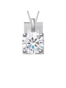 Damen Schmuck Anhänger aus 750 Weißgold mit 0,4 ct Diamant mit Zertifikat One Element silber