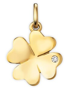 Damen Schmuck Anhänger Kleeblatt aus 585 Gelbgold mit 0,01 ct Diamant One Element gold