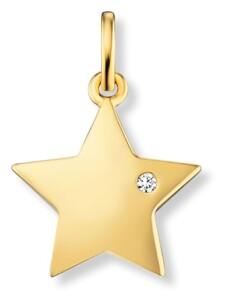 Damen Schmuck Anhänger Stern aus 585 Gelbgold mit 0,01 ct Diamant One Element gold