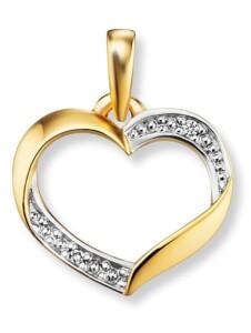 Damen Schmuck Herz Anhänger aus 585 Gelbgold mit 0,01 ct Diamant One Element gold