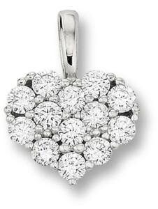 Damen Schmuck Herz Anhänger aus 585 Weißgold mit 0,18 ct Diamant One Element silber