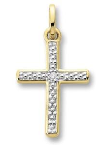 Damen Schmuck Kreuz Anhänger aus 585 Gelbgold mit 0,01 ct Diamant One Element gold