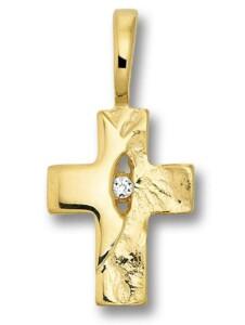 Damen Schmuck Kreuz Anhänger Kreuz aus 585 Gelbgold mit 0,01 ct Diamant One Element gold