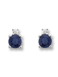 Damen Schmuck Ohrringe / Ohrstecker aus 585 Weißgold mit 0,02 ct Diamant und Safir One Element silber