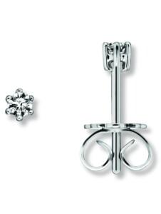 Damen Schmuck Ohrringe / Ohrstecker aus 585 Weißgold mit 0,1 ct Diamant One Element silber
