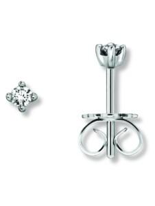 Damen Schmuck Ohrringe / Ohrstecker aus 585 Weißgold mit 0,10 ct Diamant One Element silber