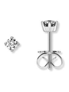 Damen Schmuck Ohrringe / Ohrstecker aus 585 Weißgold mit 0,20 ct Diamant One Element silber