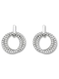 Damen Schmuck Ohrringe / Ohrstecker Kreise aus 925 Silber und Zirkonia One Element silber