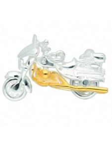 925 Silber Anhänger Harley-Davidson im Set mit 925 Silber Halskette 1001 Diamonds vergoldet