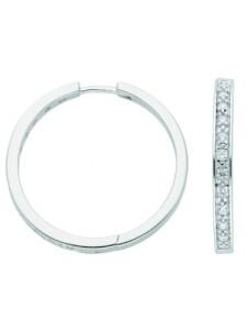 Damen Silberschmuck 925 Silber Ohrringe / Creolen mit Zirkonia Ø 29,7 mm 1001 Diamonds silber