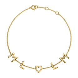 Damenarmband aus 585er Gold mit 5 Buchstaben, Symbolen