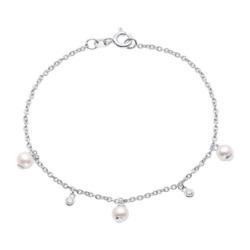 Damenarmband aus 925er Silber mit Perlen und Zirkonia