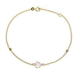 Damenarmband Herz aus 14-karätigem Gold, Perlmutt
