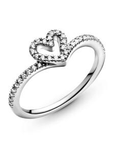Damenring, 925 -Wishbone Herz- Pandora Silberfarben