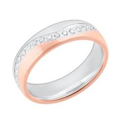 Damenring bicolor 925er Silber rosé Zirkonia