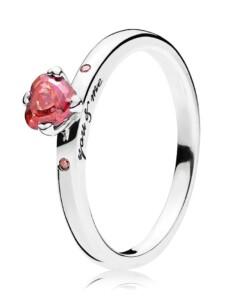 Damenring-Du & Ich- Pandora Rot