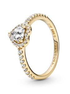 Damenring -Erhötes Herz- 14K Gold Pandora Gelbgoldfarben