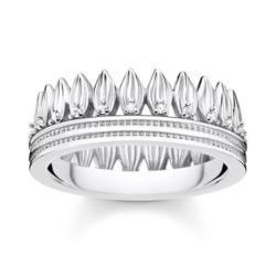 Damenring Krone Blätter aus 925er Silber mit Zirkonia