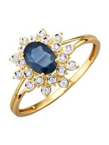 Damenring mit Saphir Diemer Farbstein Blau